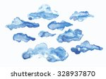 Clouds Watercolor Ink Vector Set