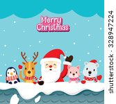 Santa Claus And Animals On Roo...