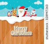Santa Claus  Animals On Wood...