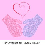 blue and pink mittens and a... | Shutterstock .eps vector #328948184