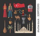 turkey travel symbols icon set | Shutterstock .eps vector #328955393