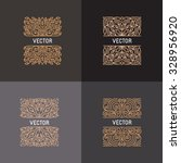 vector set of linear frames and ... | Shutterstock .eps vector #328956920