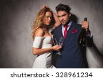 sexy elegant couple with bottle ... | Shutterstock . vector #328961234