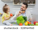 happy father and his child have ...   Shutterstock . vector #328964960
