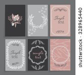 a set of cards with floral... | Shutterstock .eps vector #328965440