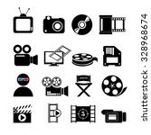 video concept with  movie icons ... | Shutterstock .eps vector #328968674
