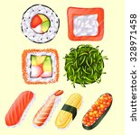 japanese sushi roll and raw... | Shutterstock .eps vector #328971458