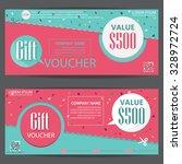 gift voucher certificate coupon ... | Shutterstock .eps vector #328972724