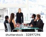businesswoman interacting to...   Shutterstock . vector #32897296