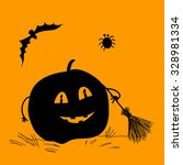 happy halloween card with...   Shutterstock .eps vector #328981334