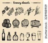vector set of vintage brewery... | Shutterstock .eps vector #328988909