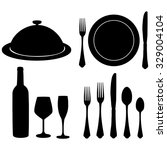 cutlery raster set with black... | Shutterstock . vector #329004104