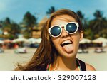 young attractive woman face... | Shutterstock . vector #329007128