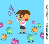 cartoon a woman and shopping... | Shutterstock .eps vector #329010299