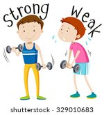 opposite adjective with strong... | Shutterstock .eps vector #329010683