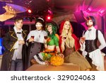 group of young friends dressed... | Shutterstock . vector #329024063