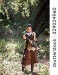 beautiful female warrior in... | Shutterstock . vector #329024960