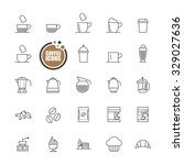coffee and bakery icons line set | Shutterstock .eps vector #329027636
