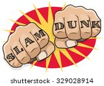 vintage pop art slam dunk... | Shutterstock . vector #329028914