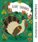 holiday card with turkey in... | Shutterstock .eps vector #329029814