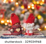 little cute gnomes at christmas ... | Shutterstock . vector #329034968