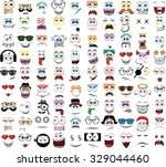 set of cartoon faces with... | Shutterstock .eps vector #329044460