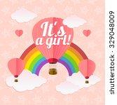 girl arrival card.  flat design.... | Shutterstock .eps vector #329048009