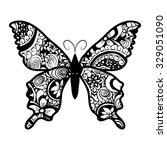 zentangle stylized black... | Shutterstock .eps vector #329051090