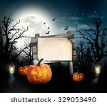 scary halloween background with ... | Shutterstock .eps vector #329053490