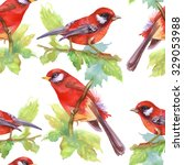 watercolor red birds and... | Shutterstock . vector #329053988