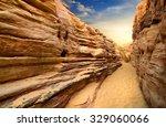 sandy canyon in desert of sinai ... | Shutterstock . vector #329060066