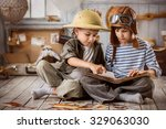 two boys in the form of... | Shutterstock . vector #329063030