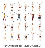 dancing group team celebrating  | Shutterstock . vector #329072060