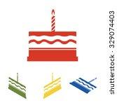birthday cake icon  set.... | Shutterstock .eps vector #329074403