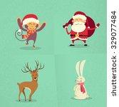 santa claus monkey rabbit deer...   Shutterstock .eps vector #329077484
