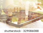 using digital tablet double... | Shutterstock . vector #329086088