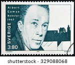 Small photo of SWEDEN - CIRCA 1990: A stamp printed in the Sweden shows Albert Camus, Nobel Prize for Literature in 1957, 1957, circa 1990
