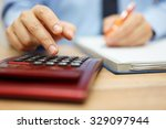 entrepreneur calculating and... | Shutterstock . vector #329097944
