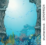 Underwater Sea Cave And Coral...