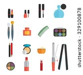beauty and makeup flat icons | Shutterstock .eps vector #329100878