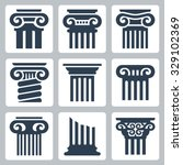 ancient columns vector icon set | Shutterstock .eps vector #329102369