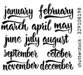 handwritten names of months ... | Shutterstock .eps vector #329108198