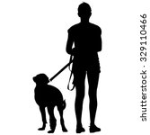silhouette of people and dog.... | Shutterstock .eps vector #329110466