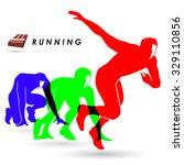 the colorful of runner logo... | Shutterstock .eps vector #329110856