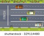 racing cars top view. flat... | Shutterstock .eps vector #329114480
