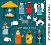 nativity scene. vector set of... | Shutterstock .eps vector #329114660