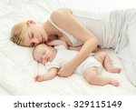 young mother and her baby ... | Shutterstock . vector #329115149