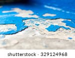 Close Up Macro Of Flaking Blue...