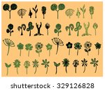 set of flower doodles | Shutterstock .eps vector #329126828