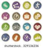 fitness icons set for web sites ... | Shutterstock .eps vector #329136236